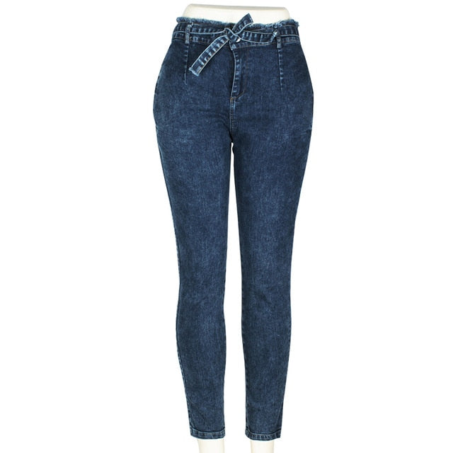 High Waist Jeans Women Streetwear Bandage Denim Plus Size Jeans Femme Pencil Pants Skinny Jeans