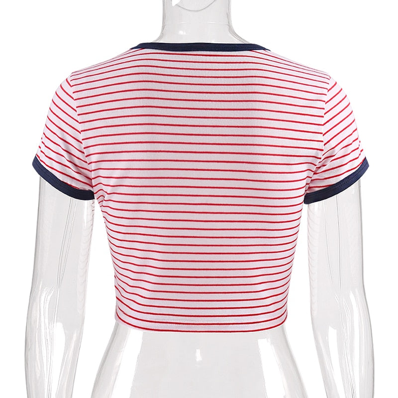 Striped Female Crop Tops 100% Cotton Funny T Shirt Short Sleeves Tops Sexy Tank Patchwork Printed Street Wear