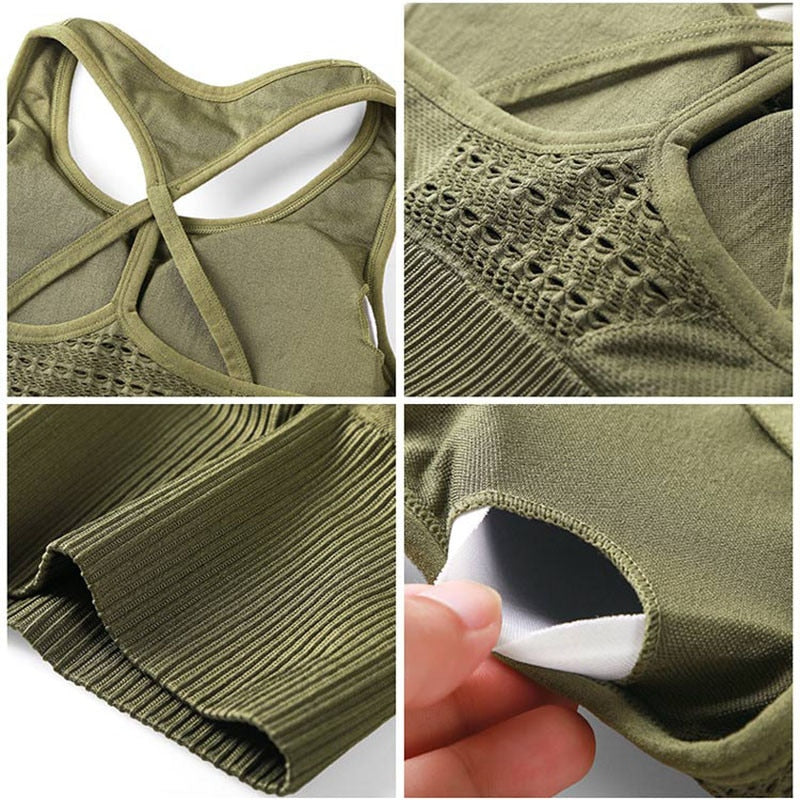 Women Energy Seamless Sports Bra Top Running Pad Sports Cropped Top Push up Yoga  Gym Running Sports Bras
