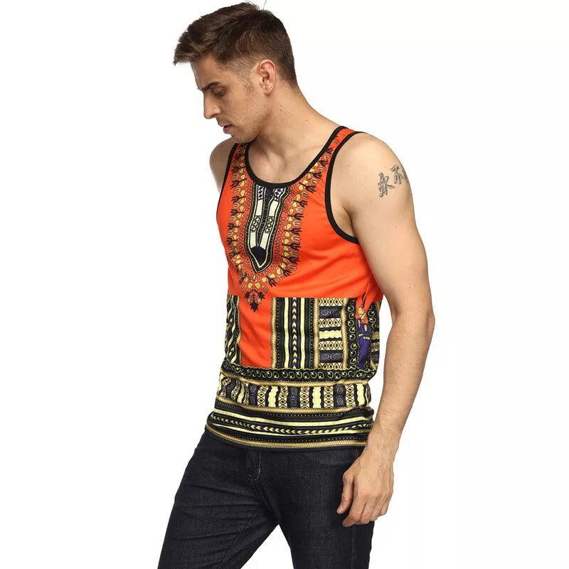 Adult Men Vogue African Dashiki Print Striped Tee Shirt Fitness Slim Cami Tank Tops Muscle Sleeveless Summer Vest T Shirt