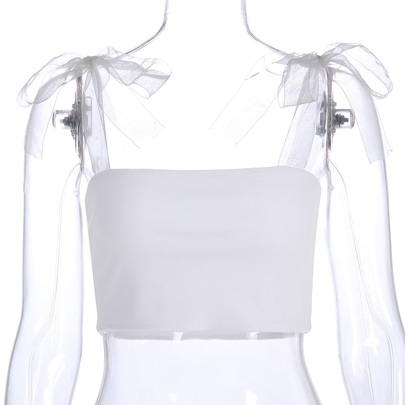 Bandage Straps Solid White Top Ladies Summer Beach Camisole Tank Top Sleeveless Women Bralette Crop Tops