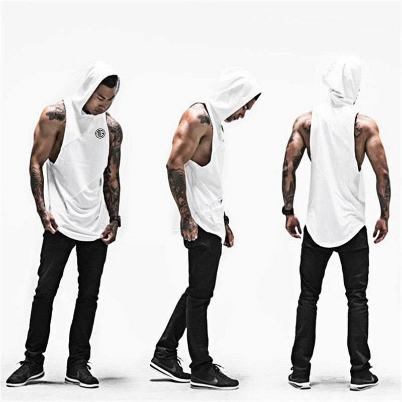 Fitness Men Tank Top with hooded Mens Bodybuilding Stringers Tank Tops workout Singlet Sleeveless Shirt