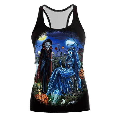 The Nightmare Before Christmas Tank top Women Halloween Blusa Sexy Print Women Jack Skellington Tops