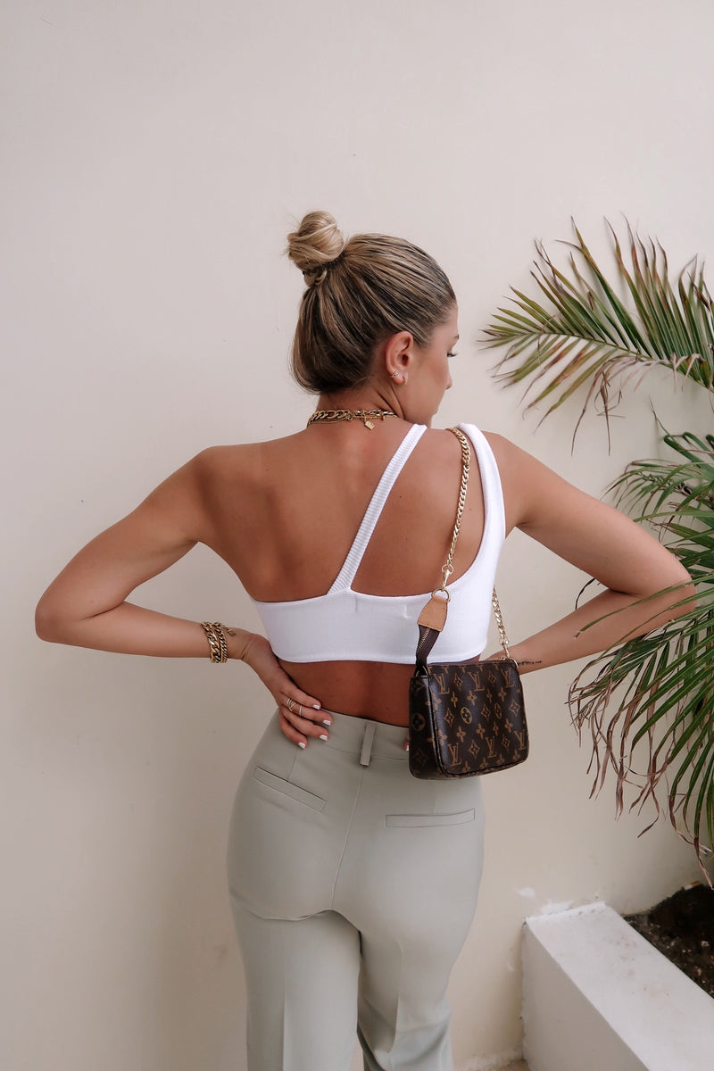 Mia Ring Detail White Crop Top