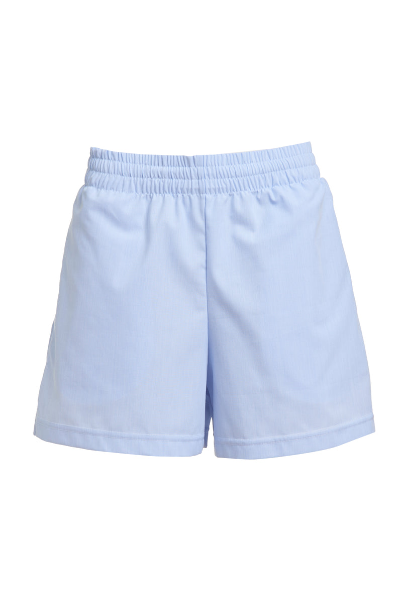 Isabella High-Waisted Cotton Shorts in Blue