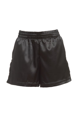 Isabella High-Waisted Satin Shorts in Black