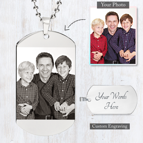 Image of Love Tag - Custom Photo Engraved Dog Tag (Black & White)