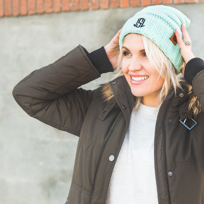 Personalized Monogram Premium Woven Beanie Hat