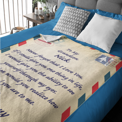 "Personalized Letter Blanket - ""Never Forget"""