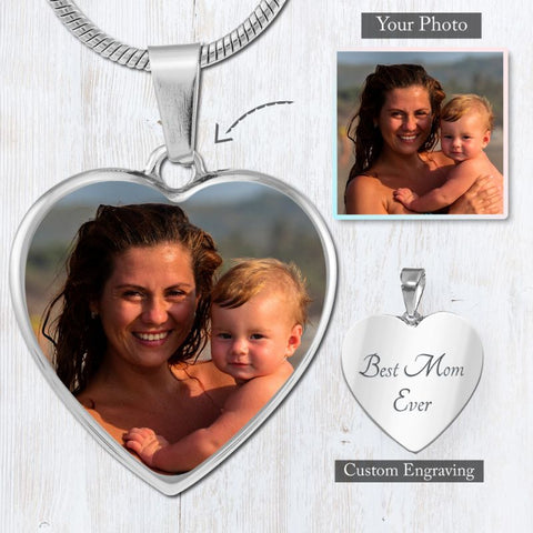 My Heart Necklace - Custom Photo Engraved (Color)