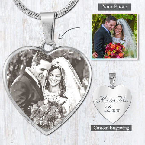 My Heart Necklace - Custom Photo Engraved (Black & White)