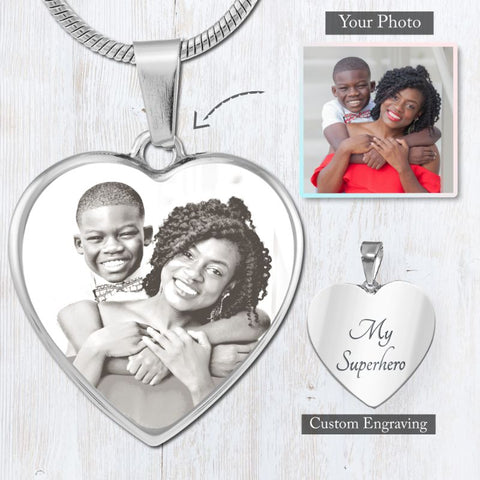 Image of My Heart Necklace - Custom Photo Engraved (Black & White)