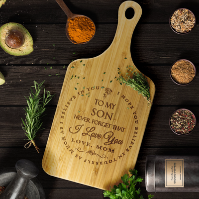 "Mom To Son - ""I Believe In You"" Engraved Cutting & Serving Board"