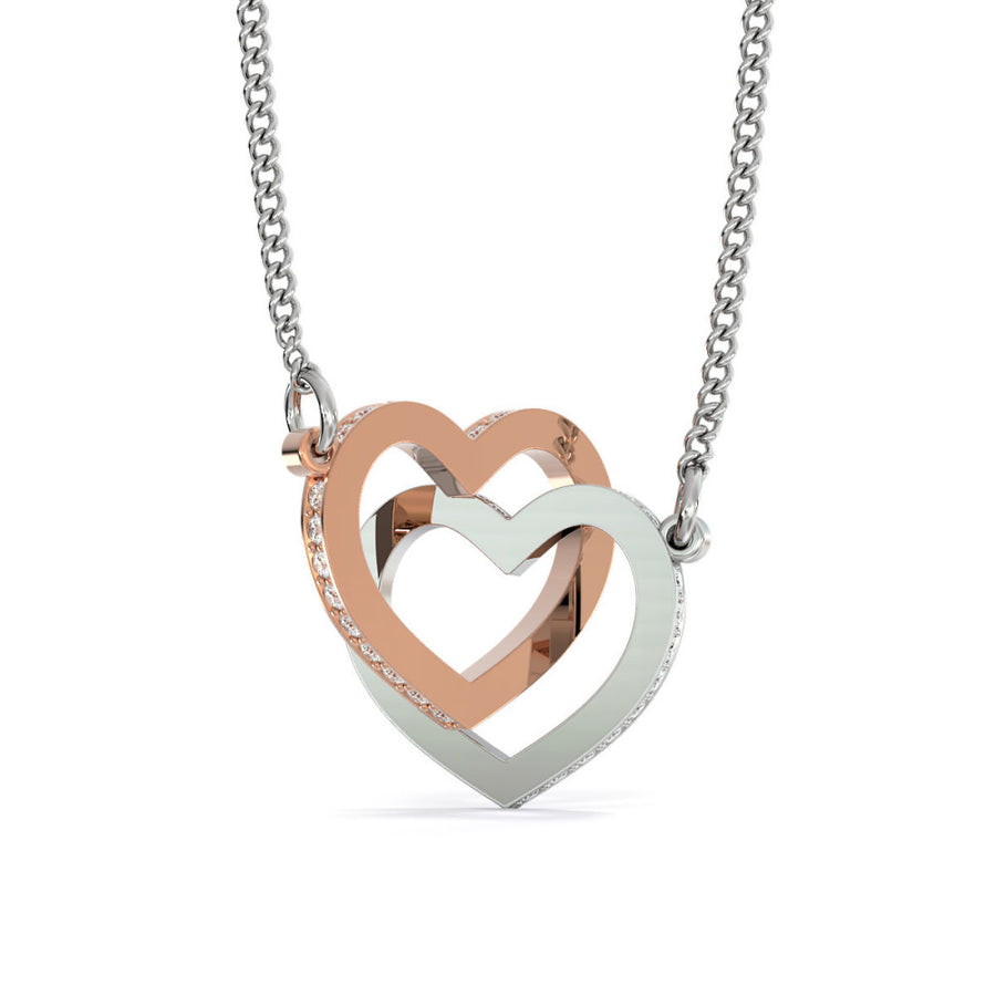 "Husband To Wife - ""Heart To Heart"" Interlocking Hearts 3D Necklace"