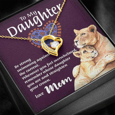 "Mom To Daughter - ""Remember Whose Daughter"" Forever Love 3D Necklace"