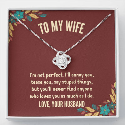 "Husband To Wife - ""I'm Not Perfect"" Love Knot 3D Necklace"