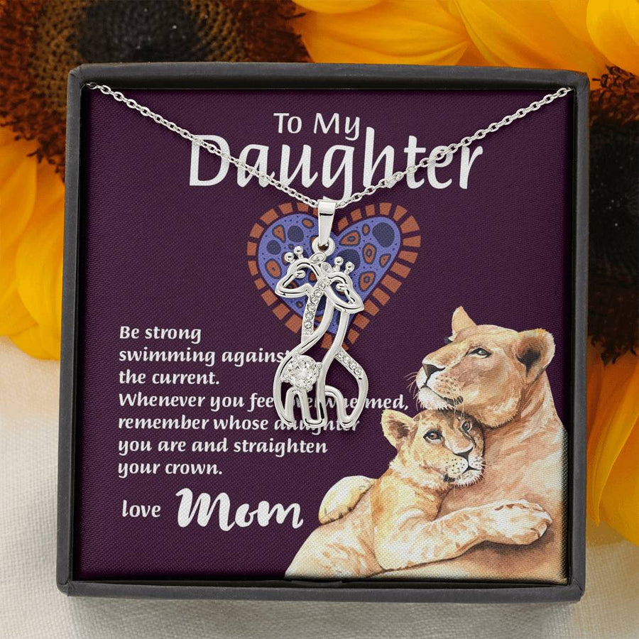 "Mom To Daughter - ""Remember Whose Daughter"" Graceful Love 3D Necklace"