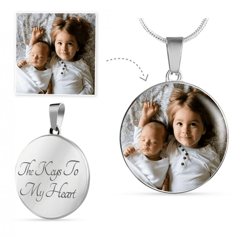 Luxury Personalized Color Photo Engraved Pendant Necklace (Luxury Necklace (Silver) / No) - CustomHeartwear