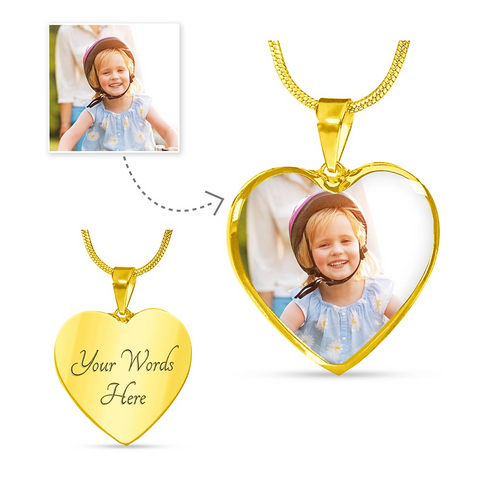 Luxury Personalized Color Photo Engraved Heart Pendant Necklace (Luxury Necklace (Gold) / No) - CustomHeartwear