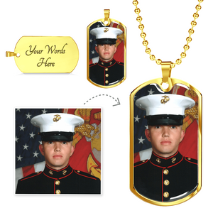 Personalized Color Photo Engraved Dog Tag for Him (Silver or Gold) (Military Chain (Gold) / No) - CustomHeartwear