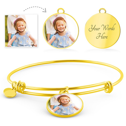 Personalized Color Photo Engraved Circle Charm Adjustable Bangle (Circle Pendant Gold Bangle / No) - CustomHeartwear