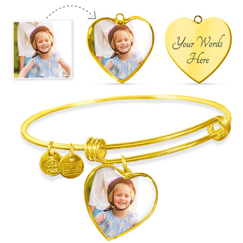 Personalized Color Photo Engraved Heart Charm Adjustable Bangle (Heart Pendant Gold Bangle / No) - CustomHeartwear