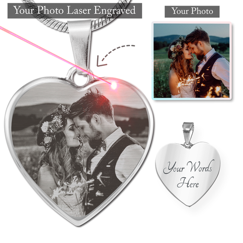 Personalized Laser Photo Engraved Heart Pendant Necklace (Photo Etched Heart Necklace (Stainless) / No) - CustomHeartwear