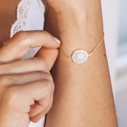 Gold Moonstone Halo Bracelet