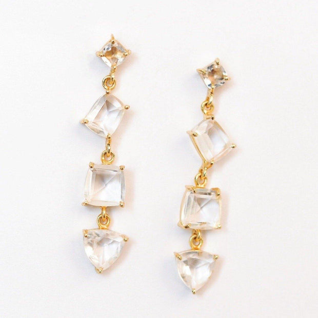 Simone Watson Jewellery - Beautiful and Bold- these gold plated cascade drop earrings feature four uniquely cut semiprecious stones that create an eye-catching and unique look