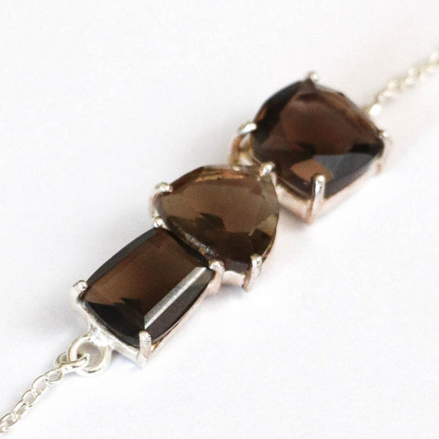 Simone Watson Jewellery - This unique bar bracelet features three Smokey Quartz stones set on a dainty sterling silver adjustable chain