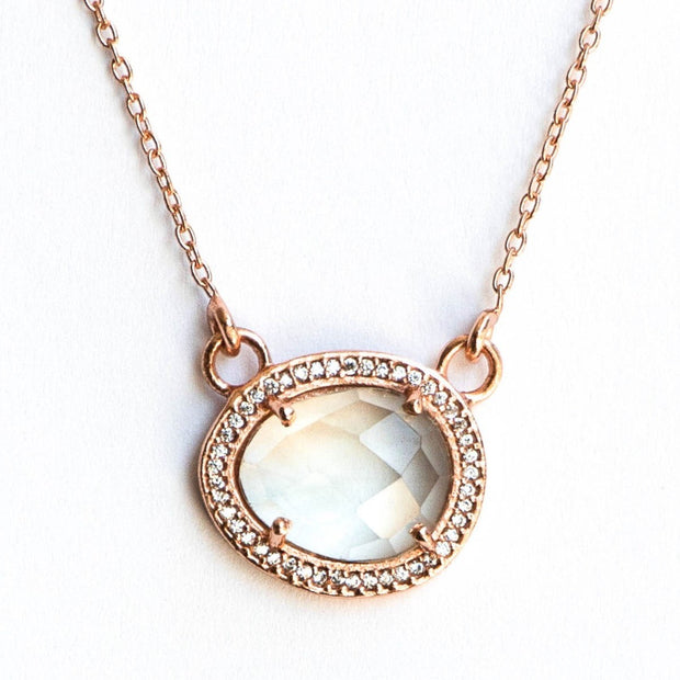 Rose Gold Green Amethyst Halo Necklace