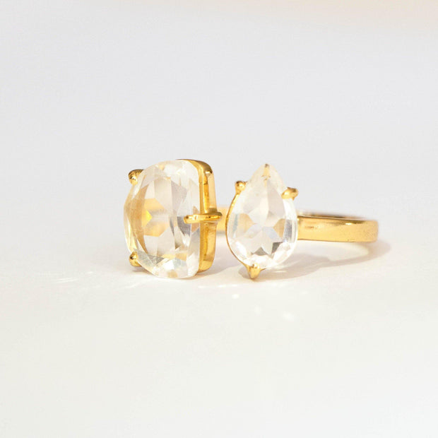 Gold Crystal Quartz Cuff Ring