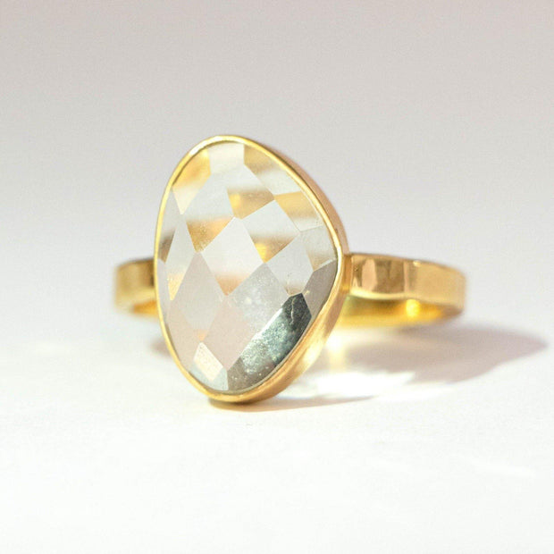 Gold Green Amethyst Solitaire Ring