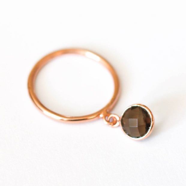 Simone Watson Jewellery - Have fun stacking with this dainty Smokey Quartz charm ring that can be worn on its own or added as an additional stacking option - handmade in sterling silver with 14 carat rose gold plating