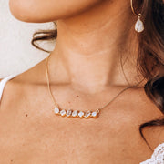 Gold Moonstone Bar Necklace