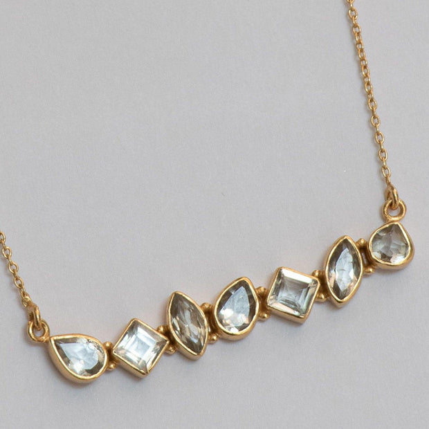Gold Green Amethyst Bar Necklace