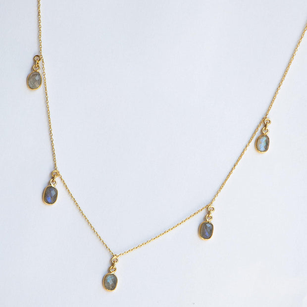 Gold Labradorite Charm Necklace