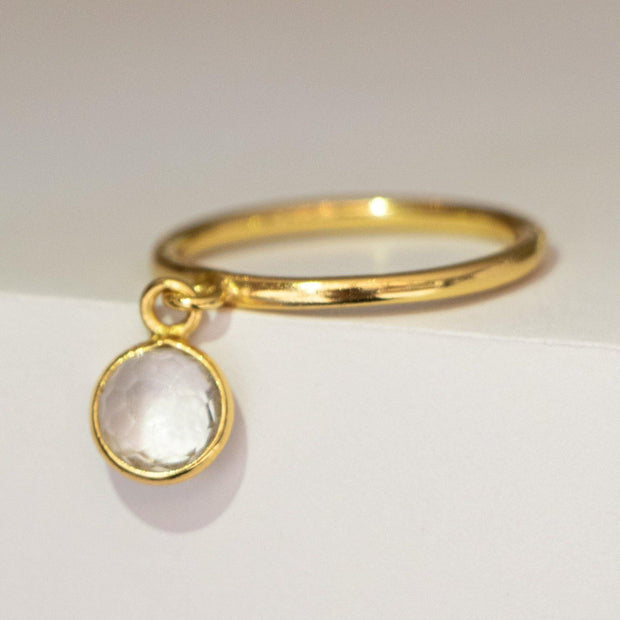 Gold Crystal Quartz Charm Ring