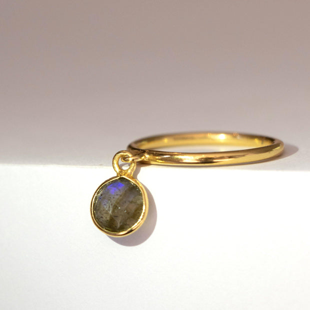 Gold Labradorite Charm Ring
