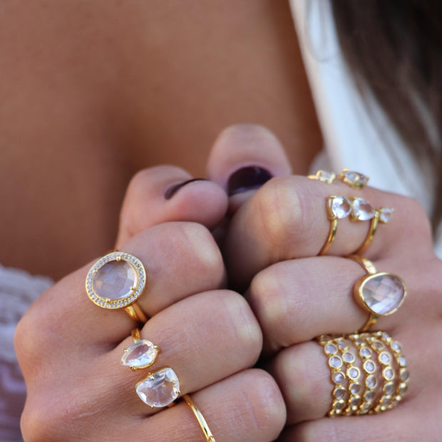 Gold Crystal Cascade Ring