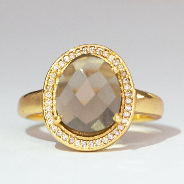 Gold Smokey Quartz Halo Ring