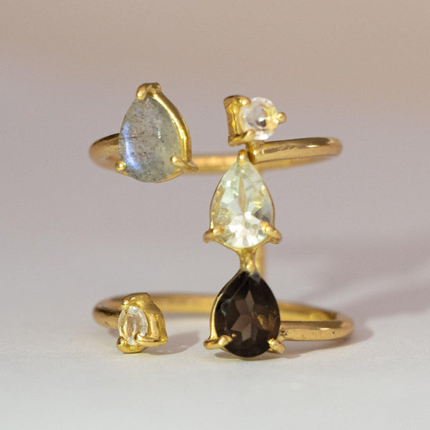 Gold Mixed Stone Cascade Ring