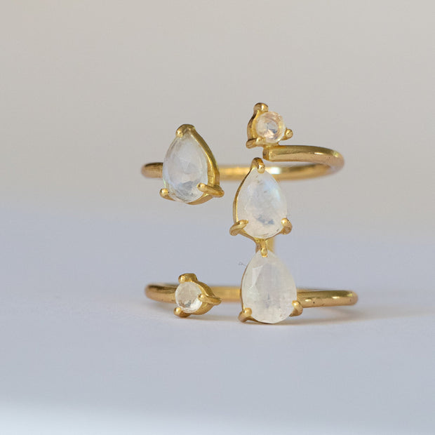 Gold Moonstone Cascade Ring