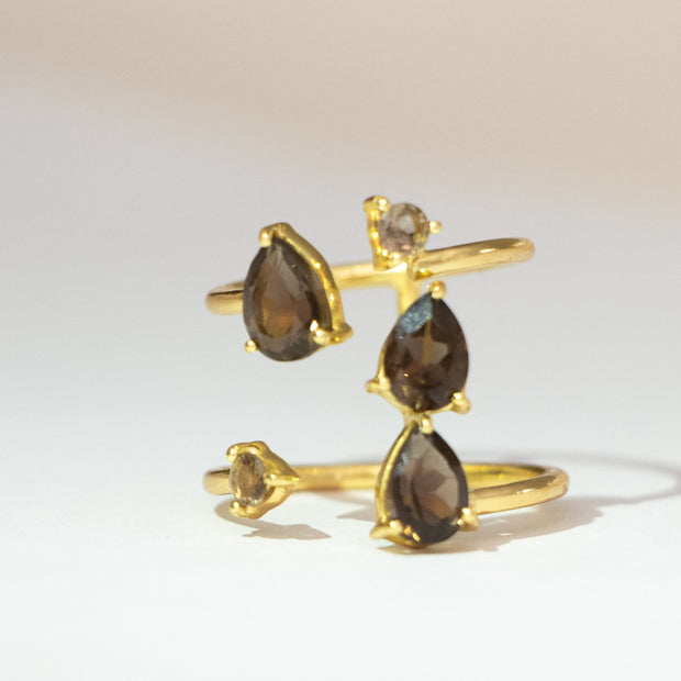 Gold Smokey Quartz Casacde Ring