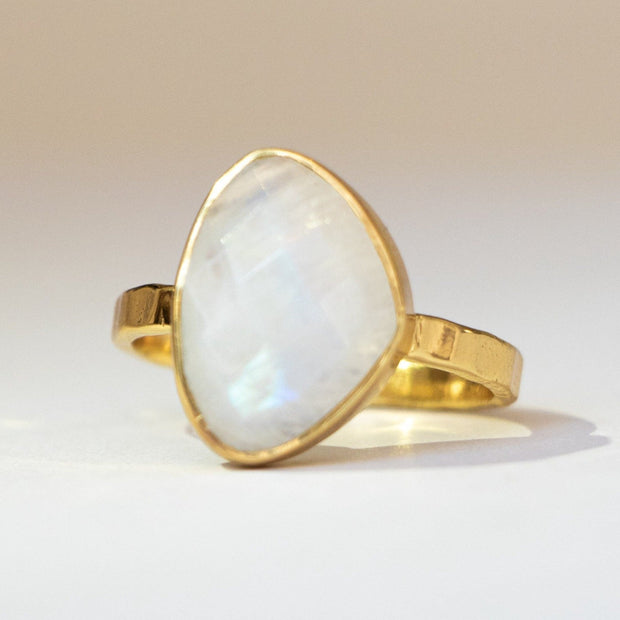 Gold Moonstone Solitaire Ring