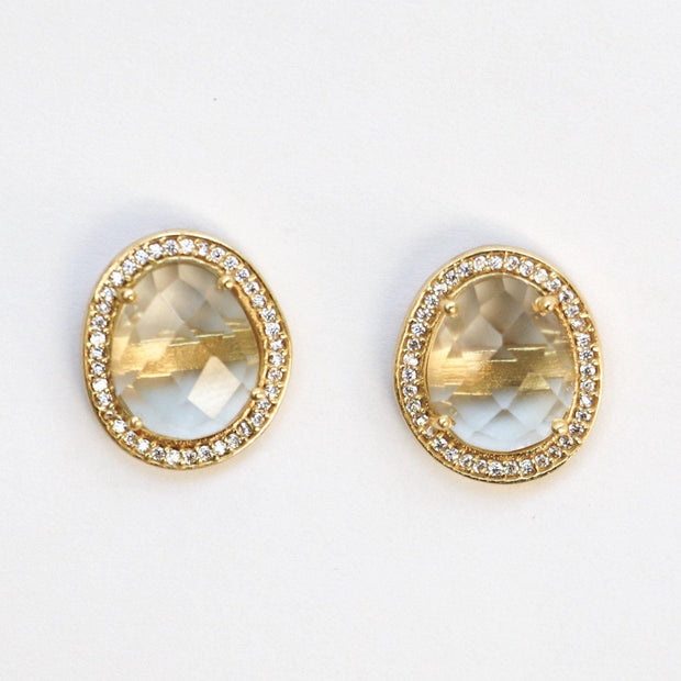 Gold Green Amethyst Halo Studs