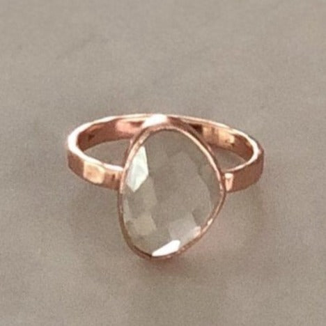 Rose Gold Green Amethyst Solitaire Ring