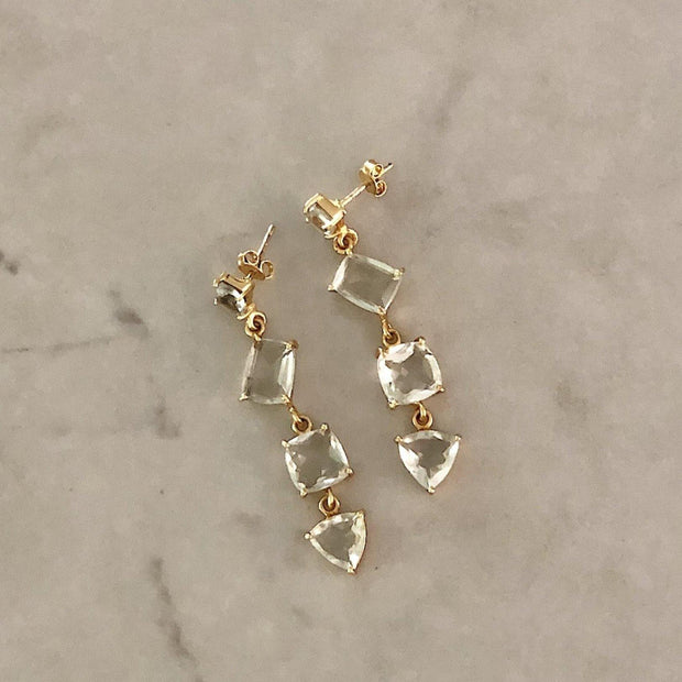 Gold Green Amethyst Cascade Earrings