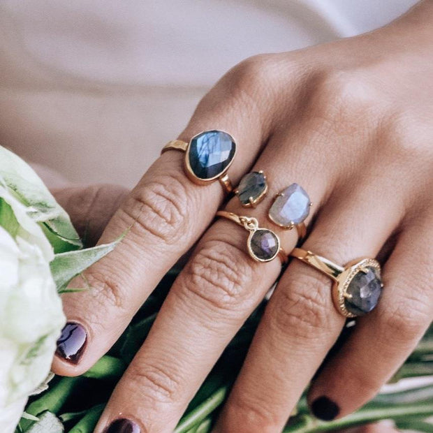 Simone Watson Jewellery - A beautiful ring featuring a rose cut Labradorite stone surrounded by a halo of pave set cubic zirconias