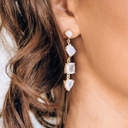 Gold Rainbow Moonstone Cascade Earrings